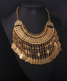 Famous brand fashion vintage coin tassels pendant chunky bib statement necklace wholesale