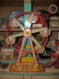 Wonderful Chein Ferris Wheel- we had this as kids!! It's worth alot today.