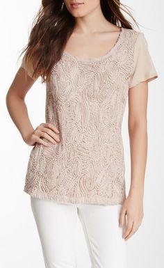 Rosette Knit Short Sleeve Tee cute!