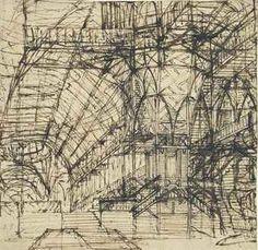 TTRIBUTED TO GIOVANNI BATTISTA PIRANESI (MOGLIANO 1720-1778 ROME) AN ARCHITECTURAL CAPRICCIO WITH STAIRS AND GALLERIES