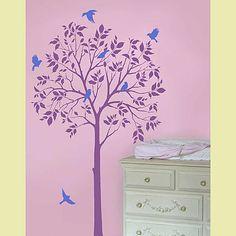 Large Tree & Birds Stencils