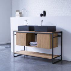 Tikamoon : Michal Metal and Teak Washstand 140 Tikamoon, Decor, Furniture Design, Creative Bathroom Design, Furniture, Interior, Bathroom Furniture, Under Sink Storage Unit, Bathroom Design