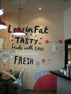 Wall graphics with typography.