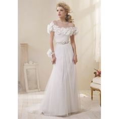 A-line Vintage Wedding Dress with Flower Net Cape - Star Bridal Apparel    (8503J  Alfred Angelo $999.00)$273.00