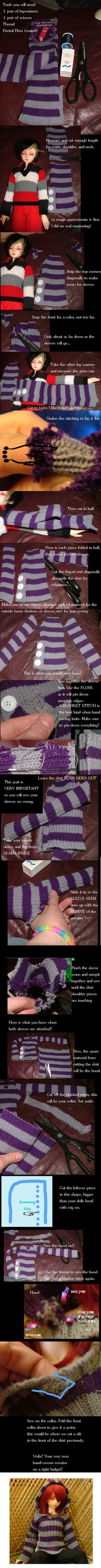 Make a BJD Sweater our of Legwarmers! by darkawaii on deviantART
