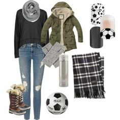 A fashion look from September 2015 featuring long sleeve sweatshirts, army green parkas and ripped denim jeans. Browse and shop related looks. Casual Fall Outfits, Casual Wear, Winter Outfits, Soccer Mom Outfits, Football Mums, Frame Denim, Winter Fashion, Jamberry, How To Wear
