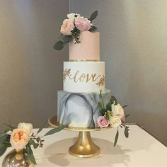 "Marbled grey wedding cake with blush and love! #seddingcakeideas WEDDING (@weddingmagazine) on Instagram: ""Gorgeous #wedding cake from @honeycrumbcakes #wedstagram #instawedding #foodporn…"""