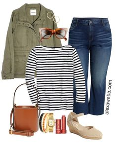 Plus Size Cropped Jeans Outfit with Kick Flare Jeans, Striped Boatneck T-Shirt, and Utility Jacket - Alexa Webb Informations About Plus Size Cropped Jeans Outfits - Alexa Webb Pin Outfit Jeans, Cropped Jeans Outfit, Plus Size Jeans, Look Plus Size, Kick Flare Jeans, Jean Outfits, Casual Outfits, Fashion Outfits, Diy Fashion