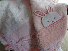 3D Pink Bunnies Patchwork Baby Quilt by JPSewCraftCreate on Etsy, $85.00