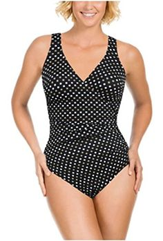 Kirkland Signature by Miraclesuit Womens One Piece Slimming Swimsuit 12 01 Spot on Wrap * Click image for more details. (Note:Amazon affiliate link)