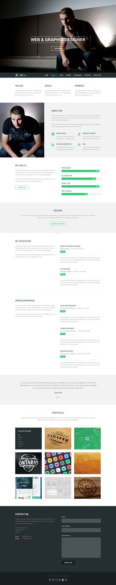 Pixel Kreate - One Page PSD Template Creative, UX UI Designer - one page resume