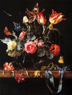 Jan van Huysum Vase of Flowers on a Garden Ledge, 1730