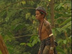 Loincloth, Iban, Dayak, Tattoo, Decorated Body, Borneo, Malaysia, Native, Rainforest, Palm (Plant), Asian Ethnicity, Leaf, Walking, 1 (Quantity), Man (Human), Adult, Stock Footage,