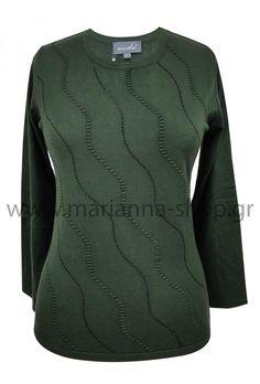 Μπλούζα πράσινη λαιμόκοψη.Είναι απο μαλακό βισκόζ νήμα και έχει λαιμόκοψη, μακριά μανίκια και αναγλυφα σχέδια διακοσμημένα με στρασάκια. Μήκος μπλούζας 62εκ., μήκος μανικιών 55εκ. για το μέγεθος Μ.88% viscose-12%elite.Ελληνική ραφή. Jumpers, Knitwear, Sweaters, Shopping, Fashion, Moda, Tricot, Fashion Styles, Jumper