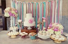 want to create a ribbon backdrop like this for a foto booth!