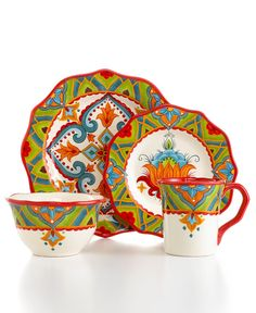 Tabletops Unlimited Dinnerware Pasha Collection - Casual Dinnerware - Dining \u0026 Entertaining - Macy\u0027s  sc 1 st  Pinterest & loving these colorful dishes! ::: Vida by Espana Dinnerware ...