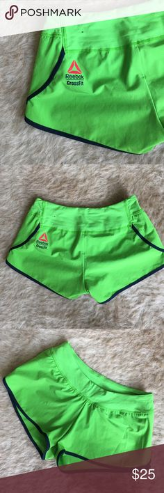 Reebok CrossFit Shorts SZ XS Reebok CrossFit shorts in Green with navy piping and liner. Hardly worn with no signs of wear. Size XS fits size 4 Reebok Shorts
