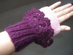 Ness Créative - Manchettes, tricotées main, en mohair et alpaga