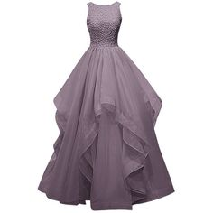Dresstells Long Prom Dress Asymmetric Bridesmaid Dress Beaded Organza... ($120) ❤ liked on Polyvore featuring dresses, gowns, prom ball gowns, purple dress, beaded gown, bridesmaid dresses and purple bridesmaid dresses