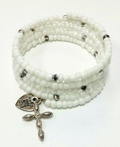 Hey, I found this really awesome Etsy listing at https://www.etsy.com/listing/183780065/white-coil-beaded-bracelet