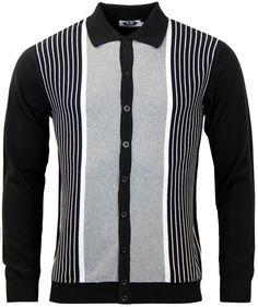 Madcap England Retro Mod  Pinstripe Marriott  Button through Polo top in  Black. Retro Mod men s clothing by Madcap England. 982e5880e