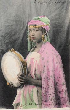 1909...Beautiful Arab Girl holding Tambourine....Gorgeous Costume....french original vintage postcard