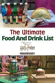 Headed to The Wizarding World of Harry Potter with the family? Here is the ultimate food and drink list for muggles visiting Universal Orlando Resort. The Wizarding World at Universal Orlando is known for butterbeer and chocolate frogs but what else is th Universal Orlando, Universal Studios Food, Harry Potter Universal, Harry Potter Hollywood, Universal Hollywood, Jurassic Park, Parque Universal, Harry Potter Snacks, Drink Recipe Book
