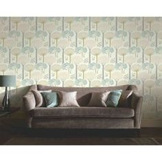 This eye-catching Arthouse Bernwood Trees Forest Wallpaper in Teal has been specially designed to add a modern sense of style to your home this season. Dining Room Wallpaper, Teal Wallpaper, Home Wallpaper, Forest Wallpaper, Hallway Wallpaper, My Home Design, House Design, Teal Home Decor, Cushions On Sofa