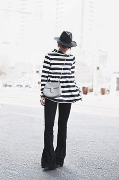 / black and white stripes....and these flared jeans! /