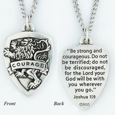 Courage Shield Pendant, Joshua 1:9 on SonGear.com - Christian Shirts, Jewelry