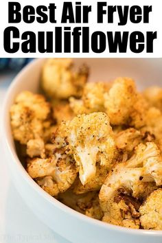 Air fryer cauliflower is easy to make in your Ninja Foodi or other machine. Healthy and full of flavor it's a great vegetable side dish or snack. Best Air Fryer Cauliflower Ever - Ninja Foodi Cauliflo Air Frier Recipes, Air Fryer Oven Recipes, Air Fryer Dinner Recipes, Air Fryer Recipes Vegetarian, Air Fried Vegetable Recipes, Air Fryer Recipes Gluten Free, Air Fryer Recipes Vegetables, Healthy Vegetables, Best Air Fryers