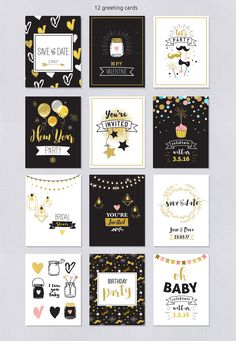Let's Party! Ultimate party invitation Pack by Marish on @creativemarket Birthday party, New Year's, Save The Date, Holiday