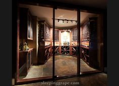 wine cellar behind glass