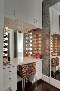 DIY makeup vanity- would be great for a studio apartment! Minus the leopard print though!