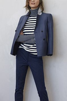 Mix up your winter turtleneck rotation with this super soft cotton and cashmere striped sweater. Pair this navy and cream sweater with navy pinstripe pants and a light wool blazer for a stand out street style look | Banana Republic
