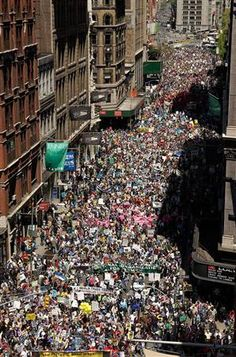 Activists protest the war in Iraq in New York. These were the largest protests in history. Peaceful protests do not seem to work.