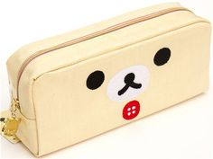 white pencil case with bear face San-X from Japan
