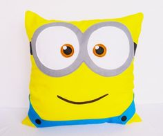 Despicable Me 2 Minion twoeyed cushion COVER  16x16 by AdreneSews, $26,00