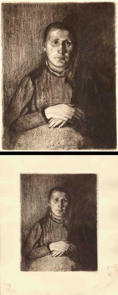 Käthe Kollwitz, #etching, solf ground, dry point