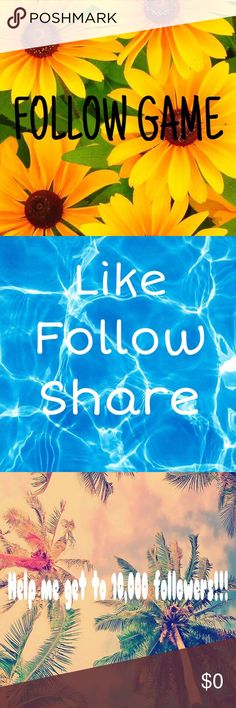 My very 1st follow game! Follow game!! 😊 like, follow & share!! 👌🏼 help me get to 10,000 followers!!! 💜💜💜 Other