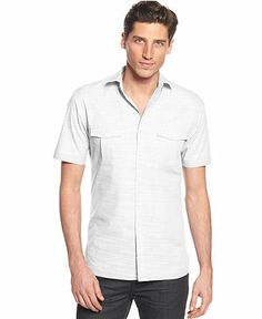 Alfani BLACK Warren Solid Textured Short Sleeve Shirt - Casual Button-Down Shirts - Men - Macy's