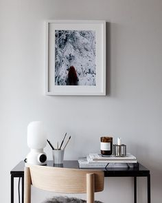 I showed you the first print in the Friluftsliv collection in collaboration with Emma Lavelle a few days back. The Sweater Weather print is a smaller print from this collection which has the talented Emma in it. Home Desk, Home Office, Office Den, Office Interior Design, Office Interiors, Swedish Interiors, By Lassen, Office Walls, Bedroom Office