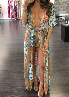 Sexy Bohemian Deep V-Neck Romper Dress Sexy Maxi Dress, Romper Dress, Chiffon Dress, Sexy Dresses, Casual Dresses, Dress Long, Sexy Outfits, Dress Outfits, Fashion Outfits