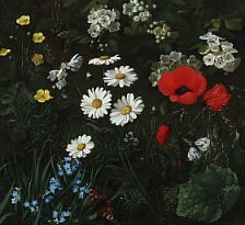 Danish painter, 19th century: Field with summer flowers. Unsigned. Oil on canvas. 31 x 34 cm.