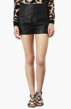 Topshop 'Lola' High Waist Faux Leather Shorts on shopstyle.com
