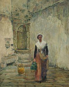 """Eugene CARTIER (1861-1943) L'arlésienne à la fontaine  Huile sur panneau Signé en bas à gauche """"Eug Cartier""""  H: 41.0 x L: 32.0 cm - Sold 1100 € on www.artprecium.com #ArtAuction"""