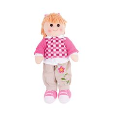 Beschrijving Stoffen pop Melanie 38 cm  Ontmoet Melanie. Deze zachte knuffelpop is op zoek naar een speelvriendjes waar ze mee kan spelen en plezier maken. Kent u zo'n vriendje? Haar stoere broek met roze/wit geblokte trui zijn de ideale outfit voor een wandeling door het bos of lekker spelen op de speeltuin.  Ideaal te combineren met onze poppenwagens, poppenbedjes en poppenstoelen.  Bigjigs poppen zijn leverbaar in 3 verschillende hoogtes - 28 cm, 35 cm en 38 cm.