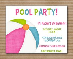 Pool Party Invitation / Pool Birthday  by PaperHouseDesigns, $10.00 Invitation Design, Invitation Cards, Pool Party Invitations, 9th Birthday, Party Time, Projects To Try, Birthdays, Handmade Gifts, Sweet 16