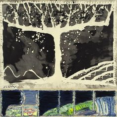 "Pierre Alechinsky - "" À bras ouverts "", 1991 - Brush and India ink, acrylic and collage on paper on canvas - x cm Art Pierre, Tachisme, Dutch Painters, India Ink, Abstract Expressionism, Les Oeuvres, Printmaking, Landscape Paintings, Artwork"