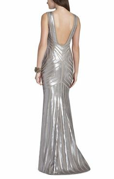 Agne Open-Back Geo-Sequined Maxi Dress | BCBG silver gown New Years